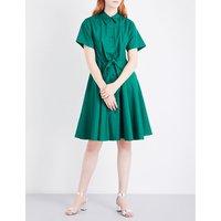 Diane Von Furstenberg Knot-waist cotton-poplin shirt dress, Women's, Size: 14, Bottle green