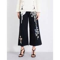 Embroidered denim culottes