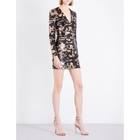 Camouflage sequinned mini dress
