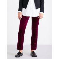 Slim-fit velvet trousers