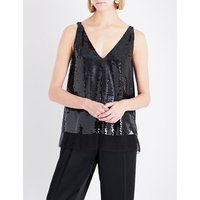 Sutton sleeveless silk and sequin top