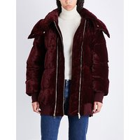 Oversized velvet puffer jacket