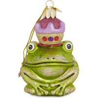 Glass frog prince hanging ornament