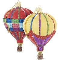 Hot air balloon Christmas decorations set of three 10cm