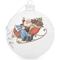 Santa's sleigh glass Christmas decoration 10.5cm