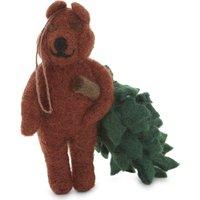 Bear with Christmas tree decoration 14cm