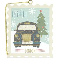 Black taxi wooden stamp Christmas decoration