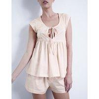 Bodas Pleated cotton-jersey pyjama set, Women's, Size: Large, Blush pink