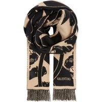 Valentino Panther virgin-wool blanket scarf, Beige black