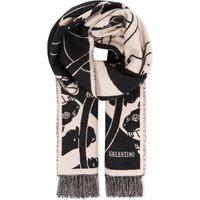 Valentino Panther virgin-wool blanket scarf, Water rose black