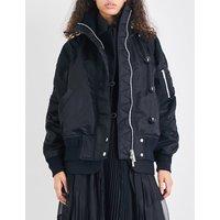 Ruched oversized bomber jacket