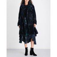 Contrast-panel faux-fur coat