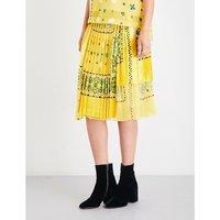 Bandana-print velvet and chiffon skirt