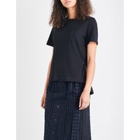 Pleated-back cotton-jersey T-shirt