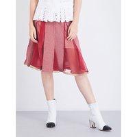 Houndstooth A-line wool-blend skirt