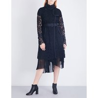 Buckle-fastened floral-lace coat
