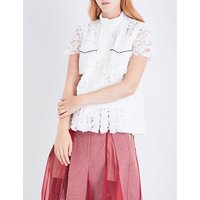 Piped floral-lace shirt