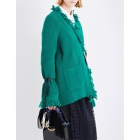 Fringed wool cardigan