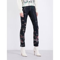 Flower-embroidered skinny high-rise satin trousers