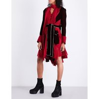 Pleated wool, velvet and chiffon dress