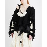 Fringed contrast-panel wool jumper