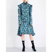 Biker floral-print silk-satin dress