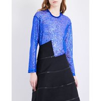 Sheer long-sleeved sequinned top