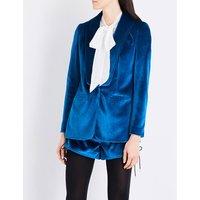 Shawl-lapel velvet jacket