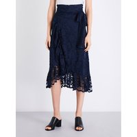 Flynn ruffled floral-lace midi skirt