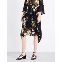 Elaine ruffled floral chiffon skirt