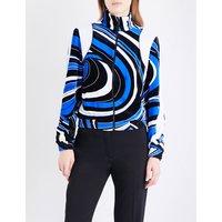 Wave-print velvet jacket
