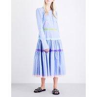 Puff-shoulder lace-trim cotton dress