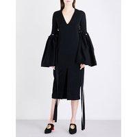 Flared-sleeve crepe midi dress