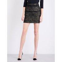 Metallic tweed mini skirt