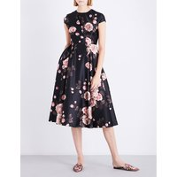 Rose-print satin dress