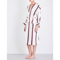 Ochre striped silk-satin dressing gown