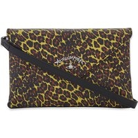 Anglomania leopard-print leather evelope clutch