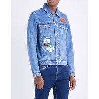 Badge-embroidered denim jacket