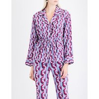 Geometric-print silk-crepe shirt