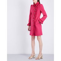 Ruffle-trim wool coat