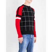 Windowpane check knitted jumper