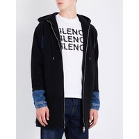Denim-sleeve wool coat