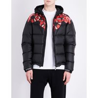 Snake-print hooded quilted shell jacket
