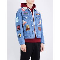 Patch-detail faux-shearling and denim jacket