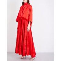 Pleated ruffled silk-satin coat