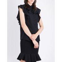 Givenchy Ruffled chiffon blouse, Women's, Size: 10, Black