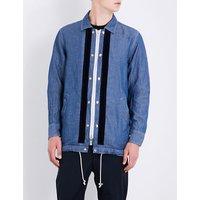 Drawstring-hem cotton and linen-blend shirt