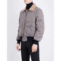 Faux-shearling collar brushed-cotton bomber jacket