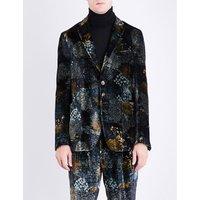 Forest-patterned regular-fit velvet jacket