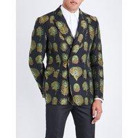 Regular-fit peacock jacquard jacket